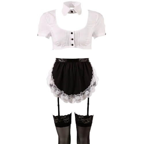 Sexy Room Service Outfit - Zwart-Wit